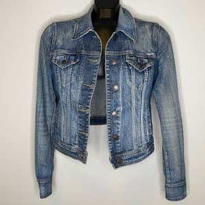Garage blue distressed cropped classic jean jacket